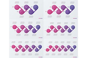 Set of timeline vector infographic design with ellipses.