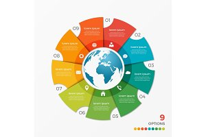 Circle chart infographic template with globe 9 options