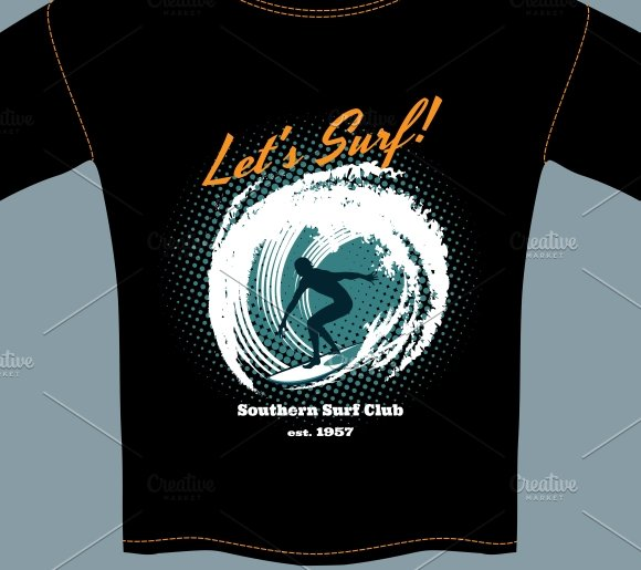 Surf Club t-shirt template design