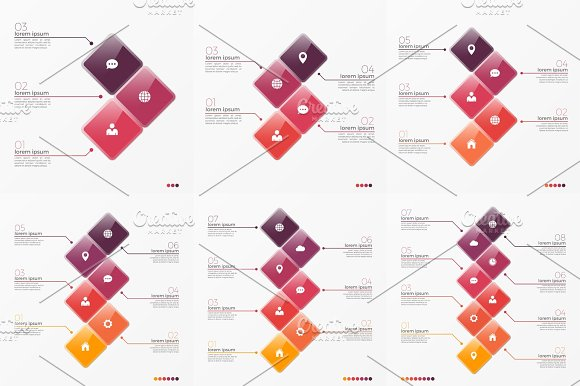 Timeline Chart Infographic Template With 3-8 Options