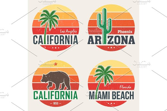 Set Of California Arizona Miami T-shirt Tee Prints