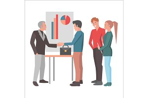 Deal after Successful Report Flat Design Cartoon