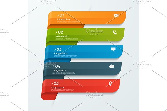 Infographic Template With Ribbons Banners Arrows 5 Options