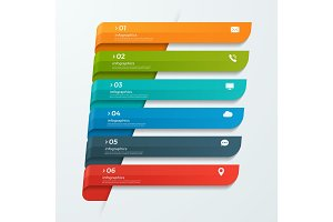 Infographic template with ribbons banners arrows 6 options