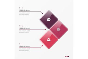 Vector 3 option infographic template with squares
