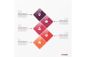 Vector 5 option infographic template with squares