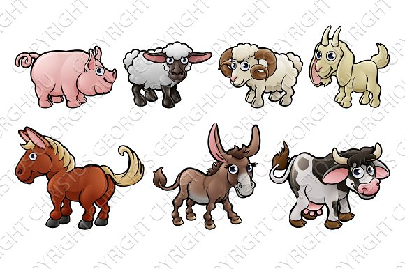 Farm Animal Cute Cartoon Characters