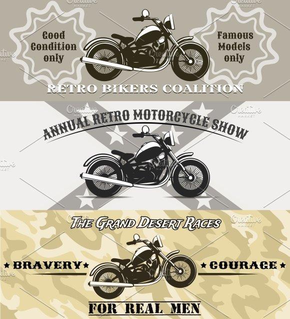 motorcycle banners in Illustrations