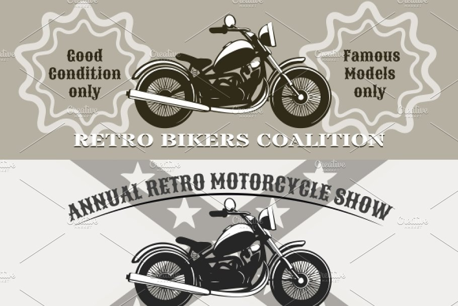 motorcycle banners in Illustrations - product preview 8