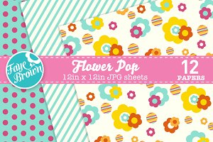Flower pop digital paper patterns
