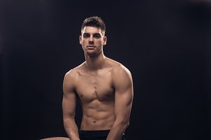 one young man, shirtless nude body