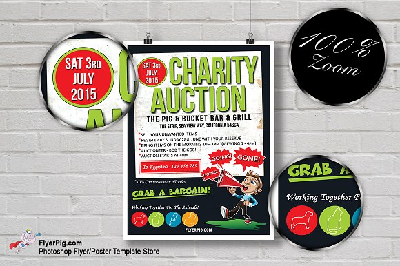 Charity Auction Flyer Template Flyer Templates Creative Market