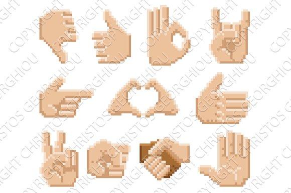 Pixel Art Hand Icons