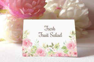 Watercolor Flowers table cards