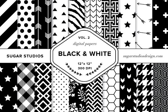 Black White Digital Backgrounds V2