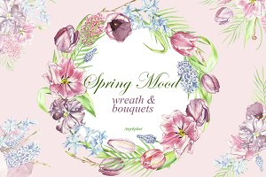 spring watercolor bouquets, wreath
