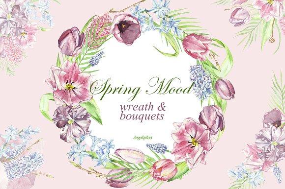 Spring Watercolor Bouquets Wreath