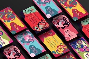 6 Memphis Style Business Cards