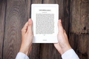 E-book Reader in hands,MockUp
