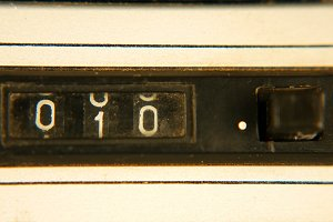 Old vintage retro mechanical reel counter