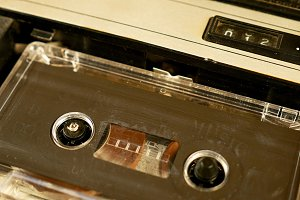 Old retro compact cassette vintage audio recorder