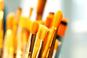 Set of paint brushes close-up. Art studio concept.