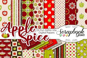 Apple Spice Glitter Digital Papers