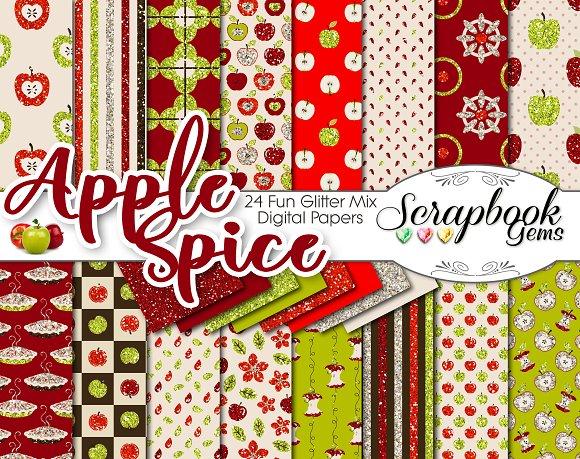 Apple Spice Glitter Digital Papers