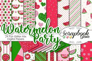 Watermelon Glitter Digital Papers
