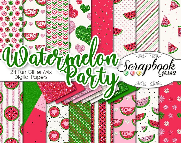 Watermelon Glitter Digital Papers
