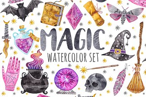 Watercolor magic set. Witchcraft
