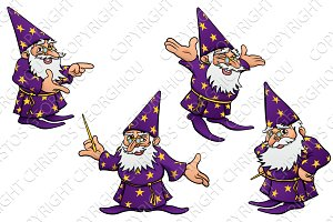 Cartoon Wizard Mascot Set