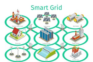 Smart grid vector diagram