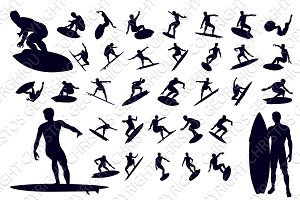 High Quality Surfer Silhouettes