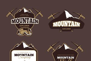 Mountain exploration logos set