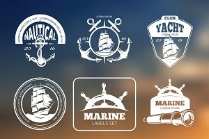 Marine, nautical vector labels