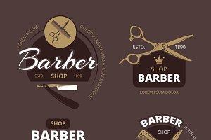 Color barber shop badges