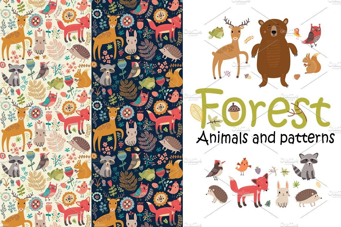 Animals And Patterns Graphic Creative Market