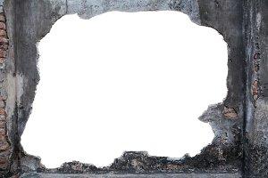 broken wall with blank copyspace