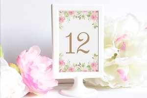 Watercolor Flowers table number card