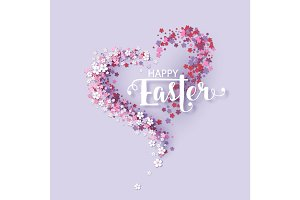 Easter background with frame flowers