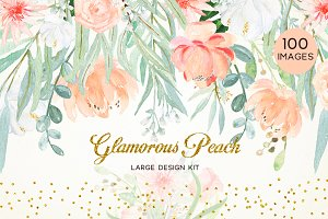 -50% OFF Peach peonies. Watercolors