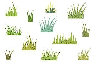 Green fun textured grass clipart
