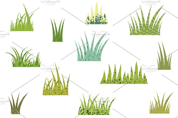 Green Fun Textured Grass Clipart