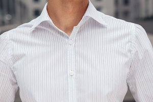 Closeup on male elegant shirt with collar