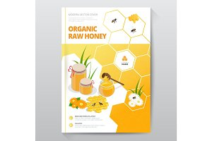 Organic raw honey designe brochure. Abstract composition. A4 brochure cover design of honey. Fancy title sheet model. Creative vector front page art. Banner form texture. Flyer fiber font