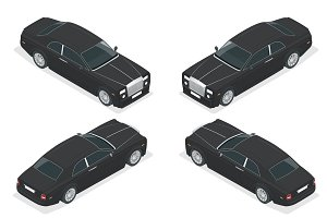 Luxury VIP car. Isometric vector representing an luxury car hire fleet or transportation