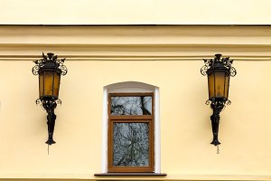 Window and two street lights.