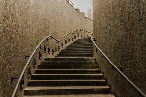 Stairs up. Dark stairs. Transition.