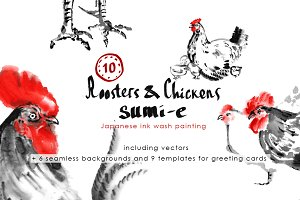 Roosters and Chickens Sumi-e.